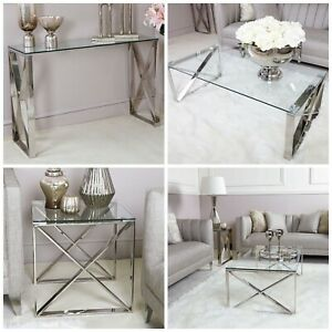 details about zenn glass stainless steel console coffee end tables living room furniture set