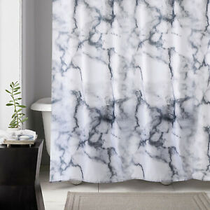 details about waterproof marble effect grey extra long wide shower curtains w 12 steel hooks