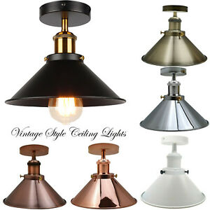 Modern Industrial Vintage Style Ceiling Light Fittings Metal Flush Mount Shade Ebay