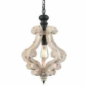 details about chain hung french country shabby chic weathered wood chandelier lighting fixture
