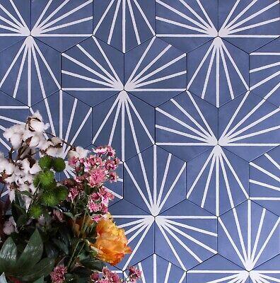 tile sample sun ray blue hexagon porcelain wall floor indoor outdoor tiles ebay