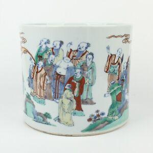 Antique Chinese Famille Verte Porcelain Brush Pot