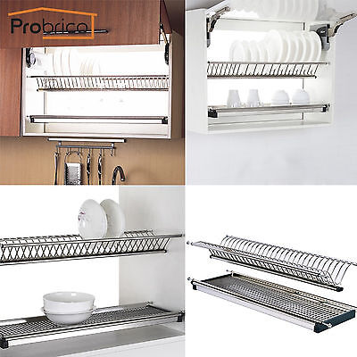 probrico 2 tier stainless steel dish drying dryer rack plate holder for cabinet ebay