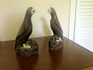 Pair of Antique Chinese Glazed Biscuit Porcelain Birds Parrots 19th c