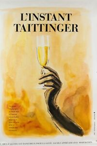 details about original vintage french poster for l instant taittinger champagne ad