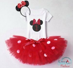 Baby Girl 1st Birthday Outfit Dress Tutu Red Minnie Mouse Cake Smash Photo Shoot Ebay