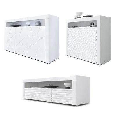 buffet meuble tv commode armoire valencia en blanc avec facades brillants en 3d ebay