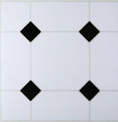 white with black diamond floor tiles self adhesive effect tile vinyl flooring ebay