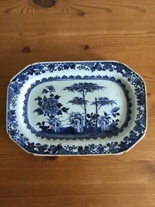 antique chinese porcelain blue and white meat dish