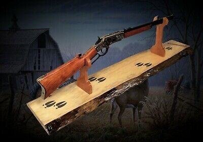 rustic gun rack stand lever action western rifle display mantel table hunting ebay