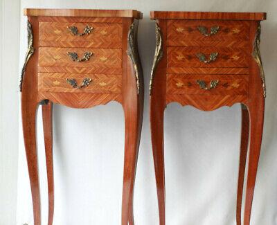 paire de tables de chevet en marqueterie 3 tiroirs style louis xv ebay