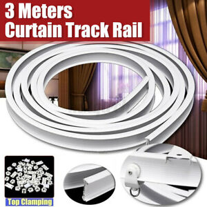 details about 3mtr flexible plactic ceiling mounted curtain track rail with hooks brackets uk