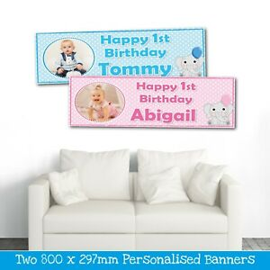 2 Personalised Photo Banners All Occasions 1st Birthday Party Banners Any Name Ebay