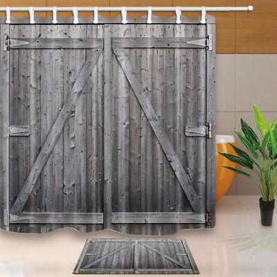 gray barn wood door waterproof polyester shower curtain 12 plastic hooks 71 inch ebay
