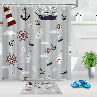 ocean drift bottle anchor lighthouse fabric shower curtain set bathroom w hooks ebay