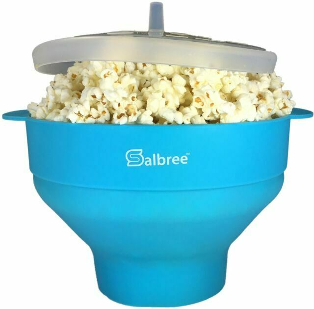 salbree collapsible silicone microwave popcorn popper turquoise