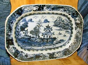 antique 19th century Chinese export canton platter blue