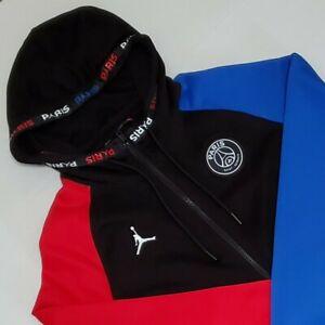 details about jordan paris saint germain mens l full zip hoodie jacket red blk blue bq8346 011