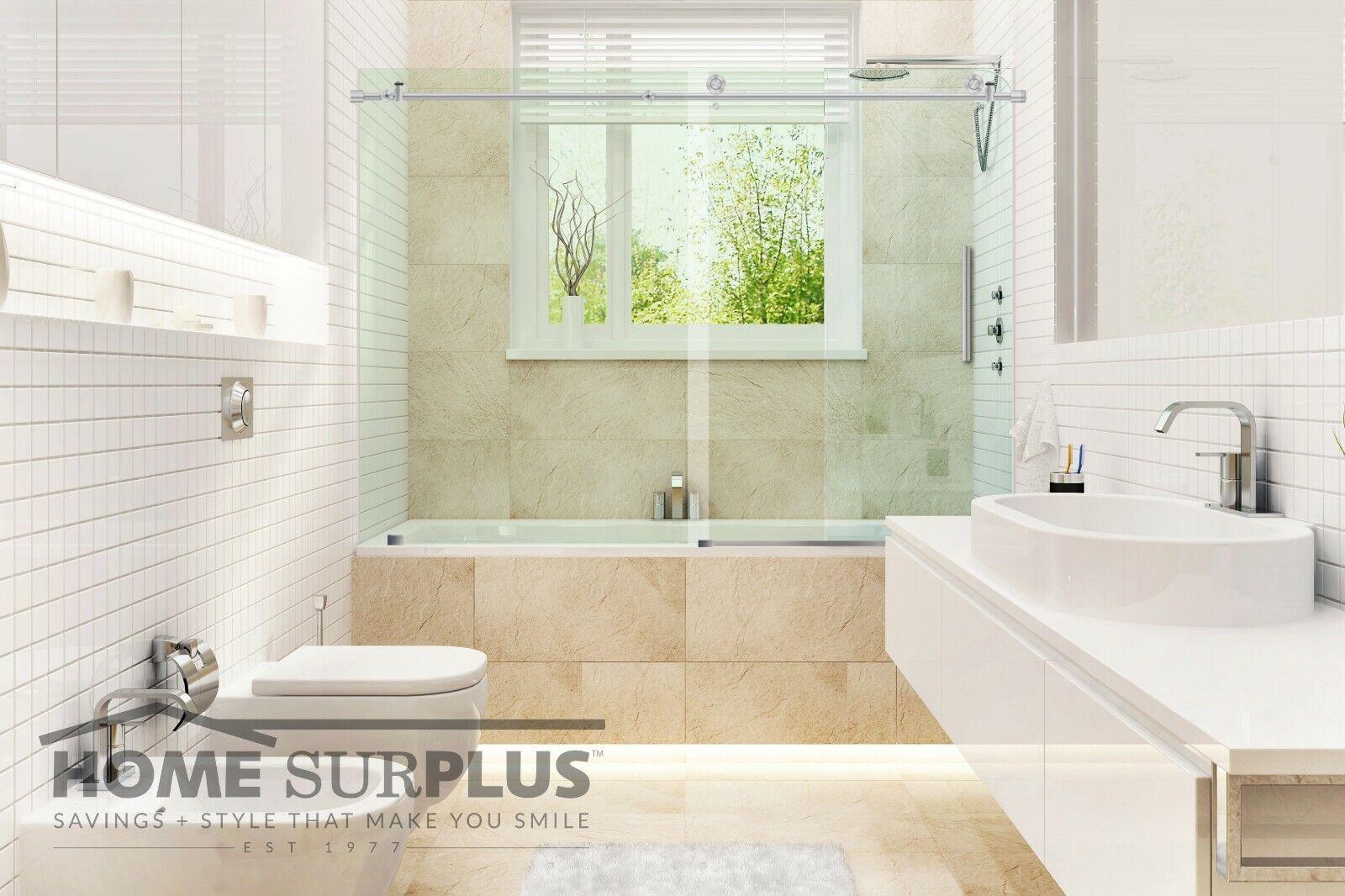 Single Sliding Glass Shower Tub Door Frameless 56 60 W 62 H Chrome Harware