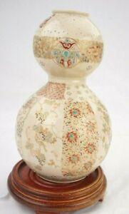 Antique Japanese Sasuma Meiji Double Gord Vase Gosu Blue 8 Inches Tall