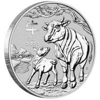 Australien 1 Dollar 2021 - Jahr des Ochsen   Ox (2.) Lunar III - 1 Oz Silber ST