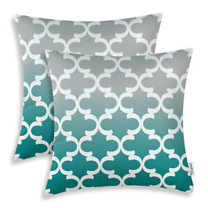 details about set of 2 gray teal cushions covers pillows case shells accent geometric 45x45cm