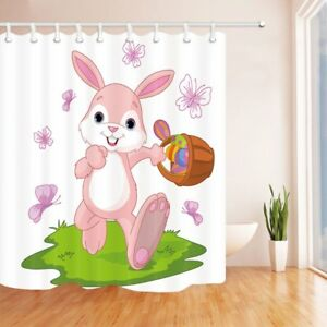 details about easter shower curtain easter bunny hiding eggs polyester fabric bath curtains
