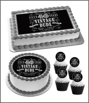 Humorous Vintage Dude Edible Cake Topper Male Birthday 40th 50th 60th 70th 781 Ebay