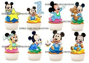 30 1st Birthday Mickey Mouse Boy Stand Up Cupcake Toppers Edible Decorations Ebay