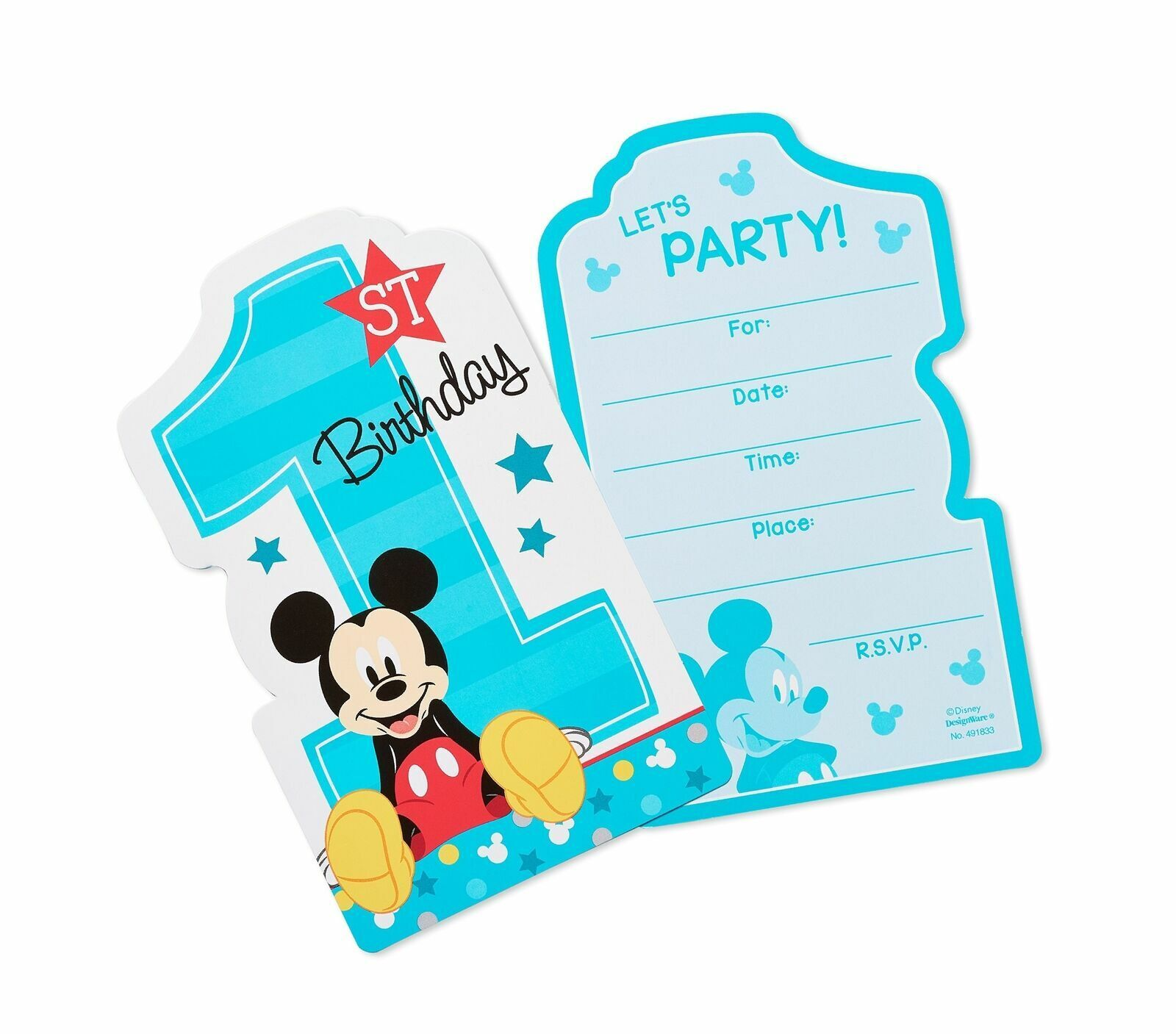 mickey mouse fun to be one invitations 8 birthday party supplies invites card