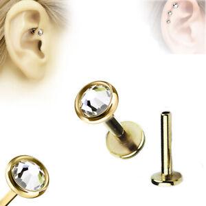 Gold Extra Flach Lippen Ohr Helix Tragus Stecker Kristall Platte Labret Piercing