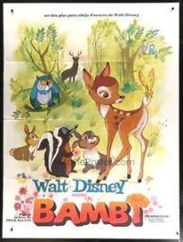 "Original Bambi Movie Poster HUGE French 1-Panel 47""x63"" Walt Disney RARE Vintage 
