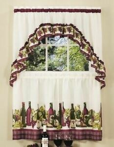 details about 3 pc grapes wine tier pair window curtain set swag valance 24 36 inch l kitchen
