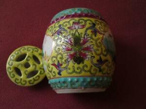 Vintage Chinese Jiangxi Jingdezhen Porcelain Hand Painted Lidded Barrel Jar Pot