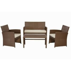 details about park trail brown 4 piece wicker patio conversation set with light brown cushions