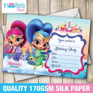20 X Shimmer And Shine Birthday Party Invitations Shimmer And Shine Invites Ebay
