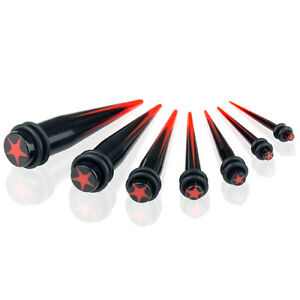 Expander Dehnstab Piercing Taper Dehner 3mm - 12mm / Set Schwarz Stern Rot