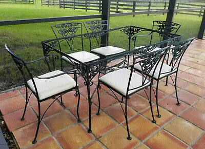 set of 7 vintage russell woodard chantilly rose wrought iron patio table chairs ebay