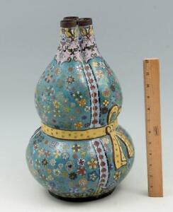 Chinese Cloisonné 15 Inch Triple-Gourd Vase Republic Period