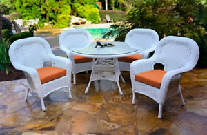 details about tortuga outdoor sea pines 5 piece dining table set white wicker patio furniture