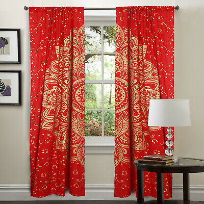 curtain mandala curtains bohemian decor ombre red gold indian panel room divider ebay