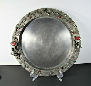 Old Large Chinese Pewter Handled Tray ~ Rim Studded w Semi Precious Stones