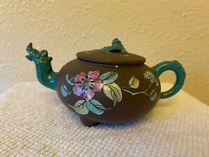 Antique Yixing Zisha Clay Teapot With Colorful Glaze Of flowers signed