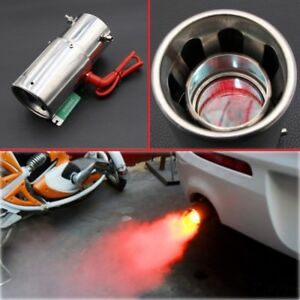 details about universal red light flaming stainless muffler tip spitfire car led exhaust pipe