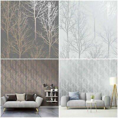 Silhouette Trees Wallpaper Holden Decor Statement Feature Wall Metallics Ebay