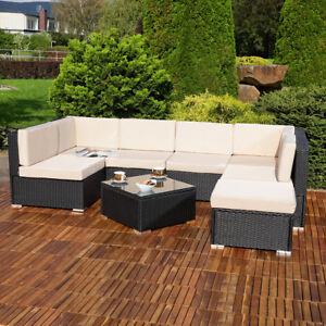 details zu lounge sitzgruppe sitzgarnitur rattan polyrattan set sofa rattanmobel garnitur