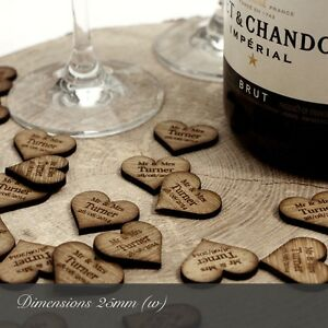 Personalised Wooden Heart Table Decorations Rustic