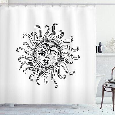 sun shower curtain tribal star moon symbols print for bathroom ebay