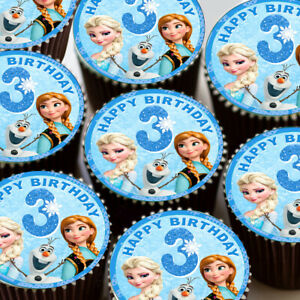 Frozen Elsa Anna Happy 3rd Birthday Edible Cupcake Toppers Decoration 4u211 Ebay