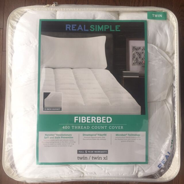 real simple fresh clean twin twin xl comfort mattress fiber bed in white
